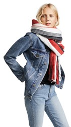 Free People Kolby Striped Fringe Scarf Red