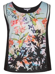 Chesca Floral Print Jersey Camisole Top Black