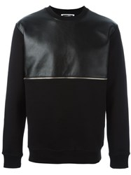 Mcq By Alexander Mcqueen Faux Leather Panel Sweatshirt Black