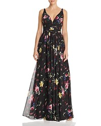 Laundry By Shelli Segal Cross Strap Floral Gown 100 Exclusive Black Multi