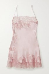 Carine Gilson Caudry Lace Trimmed Silk Satin Chemise Antique Rose