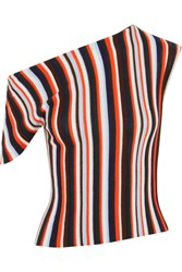 Jacquemus One Shoulder Striped Wool Top Red