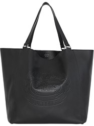 Burberry Large Embossed Crest Bonded Leather Tote Black