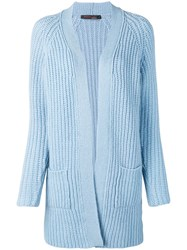 Incentive Cashmere Chunky Knit Open Cardigan Blue