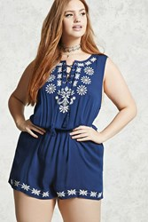 Forever 21 Plus Size Embroidered Romper Navy Ivory
