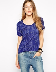 2Nd Day T Shirt In Optic Print Blue