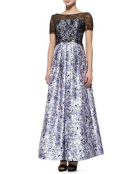 Kay Unger New York Short Sleeve Lace Bodice Floral Ball Gown