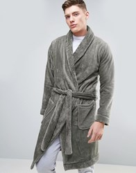 Asos Fleece Shawl Neck Dressing Gown Storm Cloud Grey