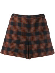 Red Valentino Check Pattern Shorts Blue