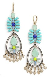 Women's Kent And King Crystal Chandelier Earrings Turquoise Gold