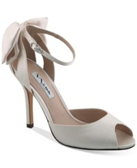 Nina Martina D'orsay Bow Evening Sandals Women's Shoes Ivory