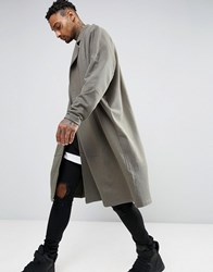 Asos Extreme Oversized Longline Jersey Duster Jacket Toad Green