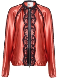 Lanvin Silk Bomber Jacket With Lace Trim Pink And Purple
