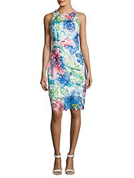 Betsey Johnson Printed Lace Dress Turquoise