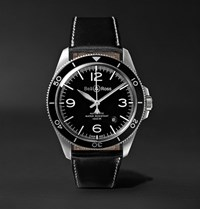Bell And Ross Br V2 92 Automatic 41Mm Stainless Steel Leather Watch Black