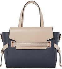 Dune Dinidelpha Faux Leather Winged Tote Navy Plain Synthetic