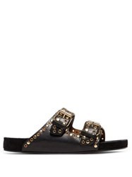 Isabel Marant Lennyo Double Strap Eyelet Leather Slides Black