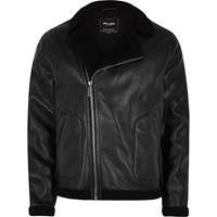 Only And Sons River Island Mens Black Faux Leather Biker Jacket