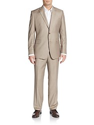 Saks Fifth Avenue Slim Fit Wool And Silk Two Button Suit Light Brown