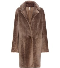 Helmut Lang Reversible Fur And Leather Coat Brown