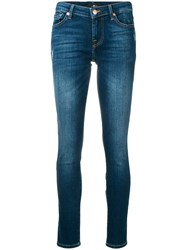7 For All Mankind Washed Distressed Skinny Jeans Blue