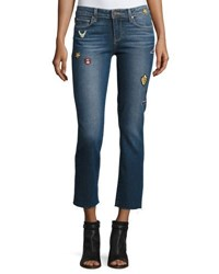 Paige Jacqueline Patch Straight Leg Jeans With Raw Hem Arvin Indigo