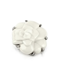 A Z Collection White Camelia Flower Brooch