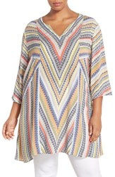 Plus Size Women's Nic Zoe 'Chevron' Notch Neck Tunic