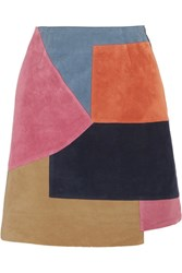 Mih Jeans M.I.H Kalle Patchwork Suede Mini Skirt Pink