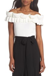 Eliza J Off The Shoulder Ruffle Knit Top Ivory