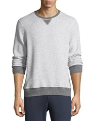 Sol Angeles Peppered Fleece Pullover Sweater Light Gray