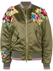 Escada Green Floral Bomber Jacket