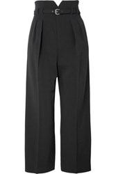Red Valentino Redvalentino Cropped Cady Wide Leg Pants Black
