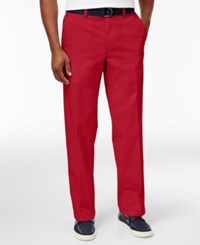 Haggar Men's Classic Fit Poplin Belted Stretch Pants Red