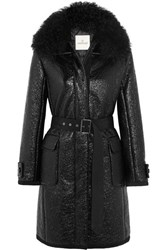 Moncler Noemie Shearling Trimmed Patent Cotton Blend Down Coat Black