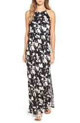 Lush Women's High Neck Maxi Dress Taupe Black