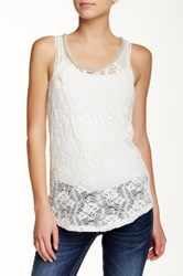 Miss Me Embellished Neck Lace Tank White