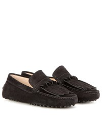 Tod's Gommini Frangia Origami Suede Loafers Black