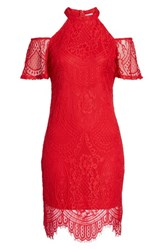 Love Fire Women's Lace Cold Shoulder Dress Holly Red