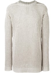 Rick Owens Long Open Knit Jumper Nude Neutrals