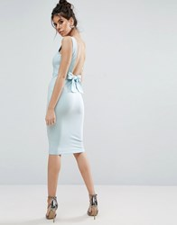 Asos Bow Back Midi Bodycon Pencil Dress Baby Blue