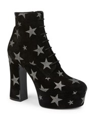 Saint Laurent Candy Suede Star Lace Up Platform Booties Black