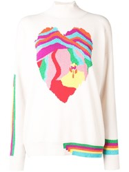 Barrie Heart Cashmere Sweater White