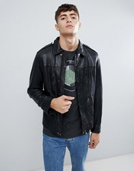 Pretty Green Leather Jacket In Black