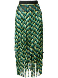 Marco De Vincenzo Paneled Embroidered Bead Skirt Green