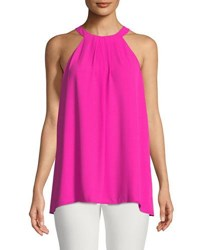 Cynthia Steffe Halter Neck Pleated Front Blouse Azalea Bloom