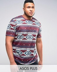 Asos Plus Longline T Shirt In Linen Look With All Over Aztec Print Oxblood Red