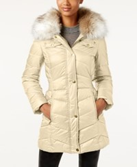 Laundry By Design Faux Fur Trim Hooded Puffer Coat Bone