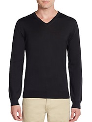 Saks Fifth Avenue Merino Wool V Neck Sweater Black