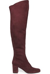 Saint Laurent Bb Stretch Suede Over The Knee Boots Burgundy